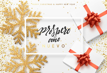 Christmas background with gifts box and shining snowflakes. Spanish text Prospero ano Nuevo