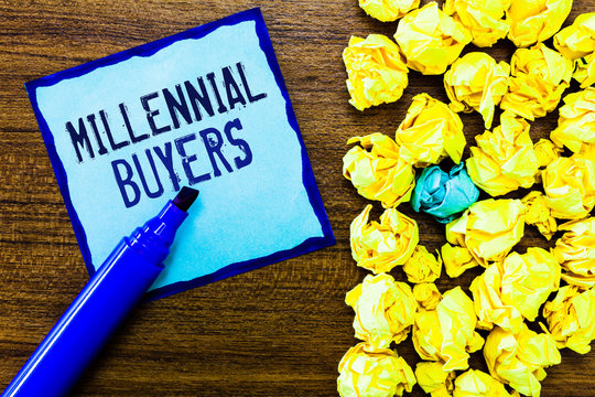 Writing note showing Millennial Buyers. Business photo showcasing Type of consumers that are interested in trending products.