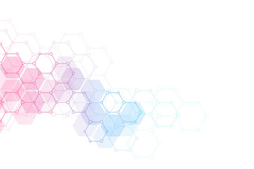 Abstract molecular structure and chemical elements. Medical, science and technology concept. Geometric background from hexagons. Fotomurales