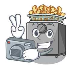 Photographer cooking french fries in deep fryer cartoon