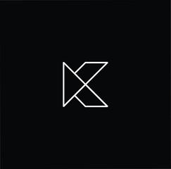 Initial White letter K KK Logo Design with black Background Vector Illustration Template.