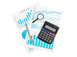 Paper financial graphs and charts with calculator, magnifying glass and pen isolated on white.