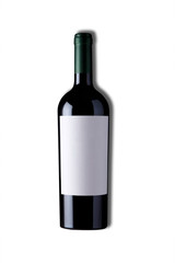 red wine and a bottle for mockup with clipping path. isolated over white background.