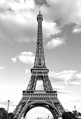 Eiffel Tower with black and white effect in Paris France