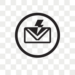 New Email with Lightning vector icon isolated on transparent background, New Email with Lightning logo design