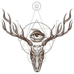 Sketch of deer skull and all-seeing eye.
