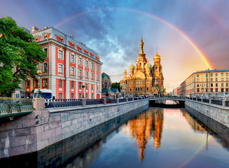 Russia, St. Petersburg - Church Saviour on Spilled Blood with rainbow