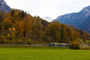 Wall Mural - Swiss alps in the autumn, train