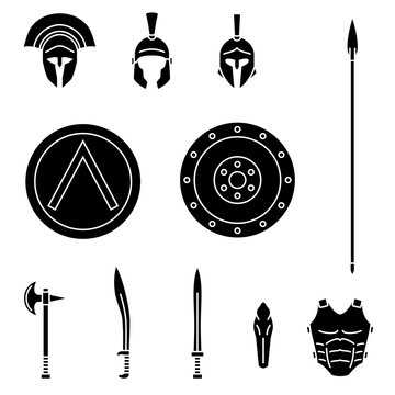 Set of ancient greek spartan weapon and protective equipment. Spear, sword, xyphos, shield, axe, helmet, leggins. Warrior outfit Vector illustration