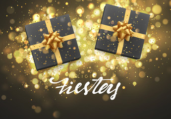 Spanish lettering Felices fiestas y Feliz Navidad. Christmas background with gift box and golden lights bokeh. Xmas greeting card.