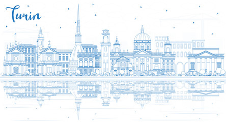 Wall Mural - Outline Turin Italy City Skyline with Blue Buildings and Reflections.