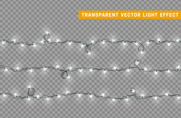 Garlands color white isolated vector, Christmas decorations lights effects. Glowing lights for Xmas Holiday.