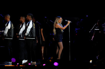 Mariah Carey performs during the iHeartRadio Music Festival at T-Mobile Arena in Las Vegas