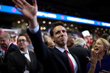 Missouri Attorney General and Republican U.S. Senate candidate Josh Hawley waves at a campaign rally with U.S. President Donald Trump in Springfield