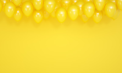 Festive yellow background with balloons, 3d render