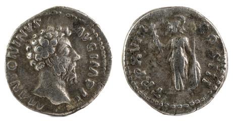 Ancient Roman silver denarius coin of Emperor Marcus Aurelius.