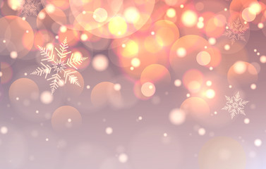 Christmas background with lights, bokeh and snowflakes,