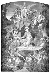 Holy night, nativity, Holy Mary, Joseph and Jesus child with angels, vintage engraving