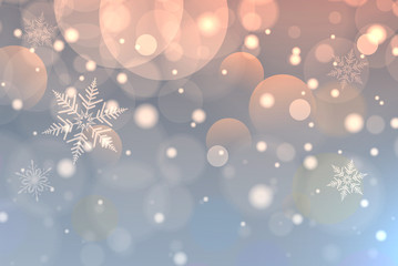 Christmas background with snowflakes, winter blue snow background