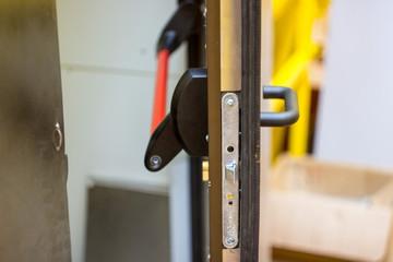 door handle evacuation panic with lock on drilling rig