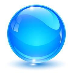Glass sphere, blue 3D vector ball.