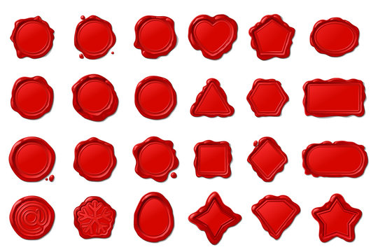vector red wax seal stamps set