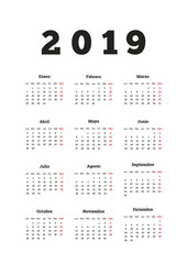 2019 year simple calendar in spanish, a4 vertical sheet isolated on white