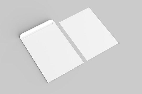 C4 envelope mock up isolated on soft gray background. 3D illustration