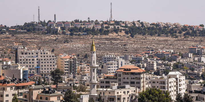 An Israeli settlement on a hill overlooking Ramallah in the West Bank of Palestine near Jerusalem