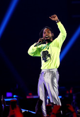 R&B singer Miguel performs during the iHeartRadio Music Festival at T-Mobile Arena in Las Vegas