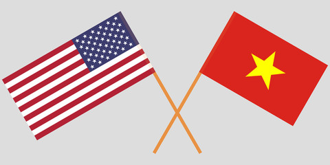 Socialist Republic of Vietnam and USA. The Vietnamese and American flags. Official colors. Correct proportion. Vector