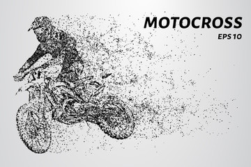 Motocross rider creates a cloud of dust and debris.
