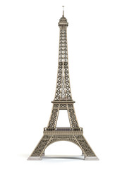 Eiffel Tower metallic isolated on a white background