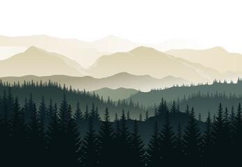 Fotobehang Zwart Vector beautiful morning landscape with misty green forests and mountains