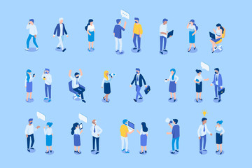 Different Isometric people flat vector set.