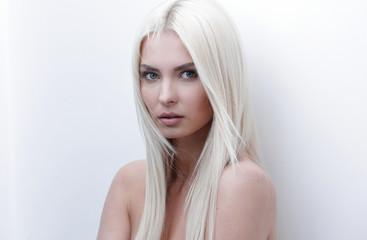 Close-up of a sad beautiful blonde woman