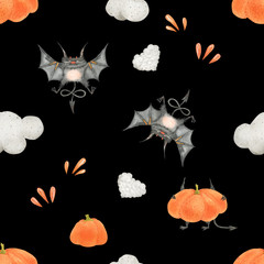 Halloween devils watercolor seamless pattern