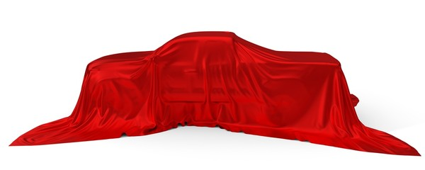 red silk covered Pickup truck concept. 3d illustration