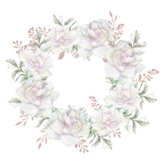 Floral wreath with apple or cherry flowers sakura blossom , roses flowers and feathers.