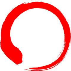 丸 円 赤 筆文字