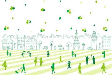 手描き 街並み 人々 バルーン