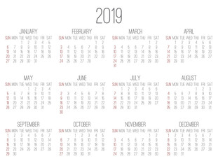 Year 2019 monthly calendar