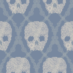 Skulls damask seamless pattern