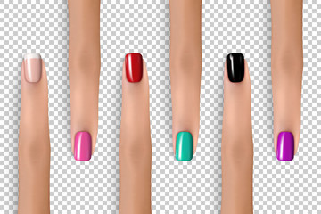 Nail colors pallet. Fingers set. Trendy nail polish colors. Woman fashion concept. Beauty theme illustration for web design or printed products. Realistic vector female fingers.