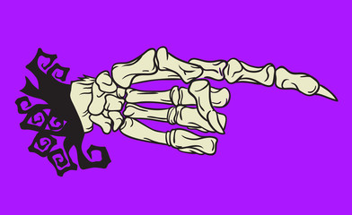 Halloween skeleton hand design element