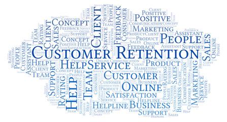 Customer Retention word cloud.