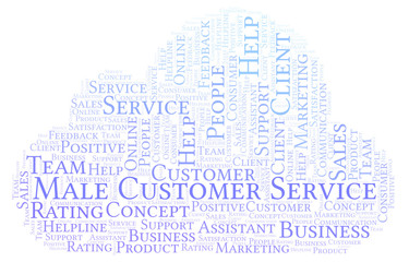 Male Customer Service word cloud.