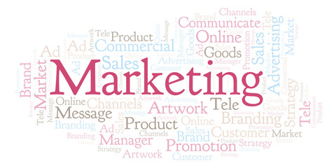 Word cloud with text Marketing.
