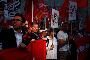 Supporters of left-wing political parties and movements take part in a rally against the pension reform, which envisage raising the retirement age, in Moscow