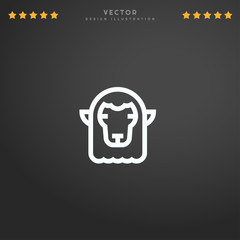 Outline Sheep icon isolated on gradient background, for website design, mobile application, logo, ui. Editable stroke. Vector illustration. Eps10.